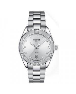 Szwajcarski, klasyczny zegarek damski TISSOT PR 100 Sport Chic T101.910.11.036.00 (T1019101103600) z diamentami na bransolecie