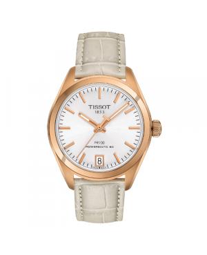 Szwajcarski, klasyczny zegarek damski TISSOT PR 10 AUTO CLASSIC T101.207.36.031.00 (T1012073603100) na pasku szkło szafirowe