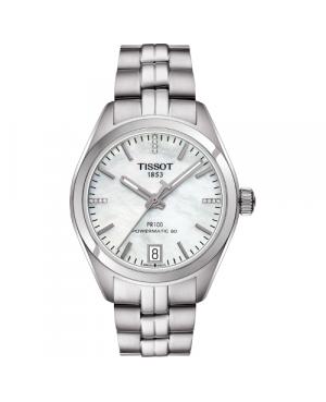 Szwajcarski, klasyczny zegarek damski TISSOT PR 100 AUTO CLASSIC T101.207.11.116.00 (T1012071111600) z diamentami automatyczny