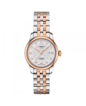 Szwajcarski, elegancki zegarek damski TISSOT Le Locle Automatic Lady T006.207.22.036.00 (T0062072203600) klasyczny z diamentami