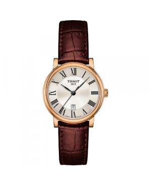 Szwajcarski, klasyczny zegarek damski TISSOT T122.210.36.033.00 Carson Premium Lady (T1222103603300) z cyframi na pasku