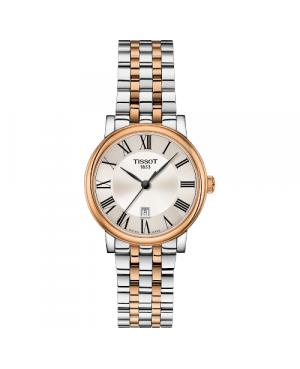 Szwajcarski, klasyczny zegarek damski TISSOT Carson Premium Lady T122.210.22.033.01 (T1222102203301) na bransolecie z cyframi