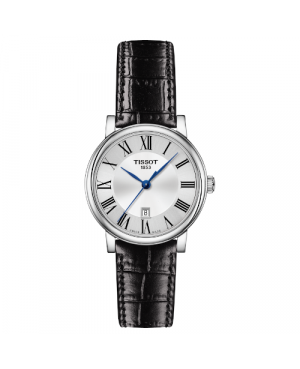Szwajcarski, klasyczny zegarek damski TISSOT Carson Premium Lady T122.210.16.033.00 (T1222101603300) na czarnym pasku z cyframi