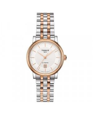 Szwajcarski, klasyczny zegarek damski TISSOT Carson Premium Automatic Lady T122.207.22.031.01 (T1222072203101) na bransolecie