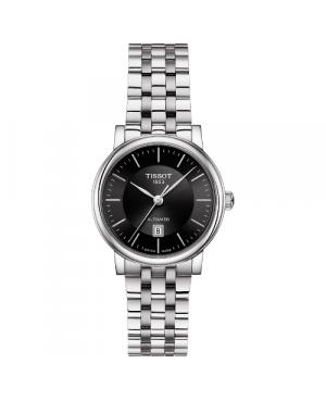 Szwajcarski, klasyczny zegarek damski TISSOT Carson Premium Automatic Lady T122.207.11.051.00 (T1222071105100) na bransolecie