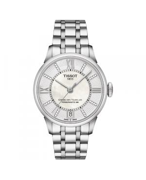 Szwajcarski, klasyczny zegarek damski TISSOT Chemin des Tourelles Powermatic 80 Lady T099.207.11.116.00 (T0992071111600)