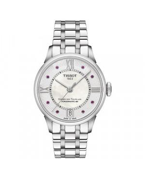 Szwajcarski, klasyczny zegarek damski TISSOT Chemin des Tourelles Powermatic 80 Lady T099.207.11.113.00 (T0992071111300) rubiny