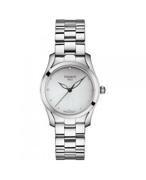 Szwajcarki, elegancki zegarek damski TISSOT T-WAVE T112.210.11.036.00 (T1122101103600) na bransolecie z diamentami