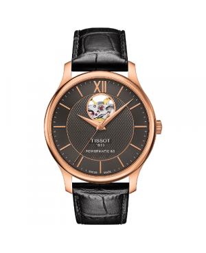 Elegancki zegarek męski TISSOT Tradition Powermatic 80 Open Heart T063.907.36.068.00 (T0639073606800)