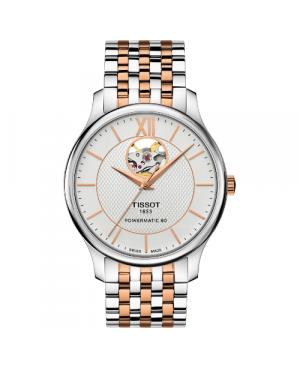 Elegancki zegarek męski TISSOT Tradition Powermatic 80 Open Heart T063.907.22.038.01 (T0639072203801)