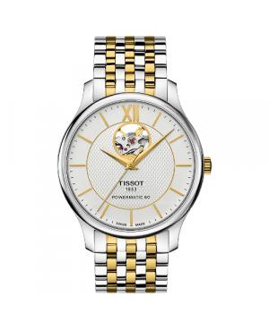Elegancki zegarek męski TISSOT Tradition Powermatic 80 Open Heart T063.907.22.038.00 (T0639072203800)