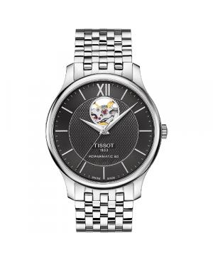 Elegancki zegarek męski TISSOT Tradition Powermatic 80 Open Heart T063.907.11.058.00 (T0639071105800)
