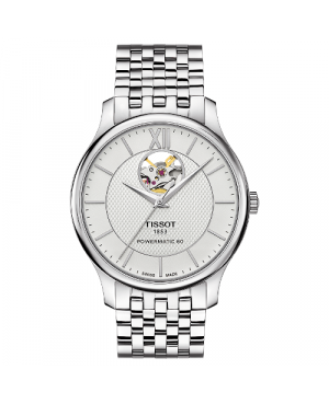 Elegancki zegarek męski TISSOT Tradition Powermatic 80 Open Heart T063.907.11.038.00 (T0639071103800)