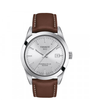 Elegancki zegarek męski TISSOT Gentleman Powermatic 80 Silicium T127.407.16.031.00 (T1274071603100)