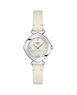 Szwajcarski, elegancki zegarek damski TISSOT FEMINI-T T113.109.16.116.01 (T1131091611601) na skórzanym białym pasku