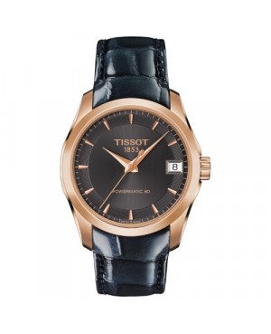 Szwajcarski, elegancki zegarek damski TISSOT Couturier Lady T035.207.36.061.00 (T0352073606100) na pasku