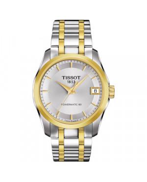 Szwajcarski, elegancki zegarek damski TISSOT Couturier Automatic Lady T035.207.22.031.00 (T0352072203100) na bransolecie