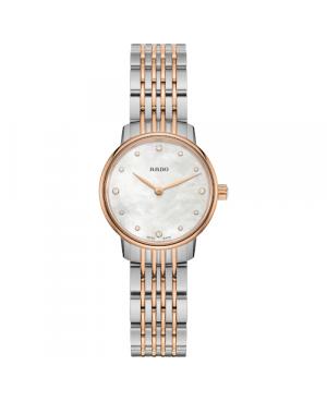Szwajcarski elegancki zegarek damski RADO Coupole Classic Diamonds R22897923 Zegarek ze szkłem szafirowym