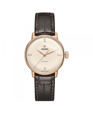 Szwajcarski klasyczny zegarek damski RADO Coupole Classic Automatic Diamonds R22865765 Odporne na zarysowania szkło szafirowe