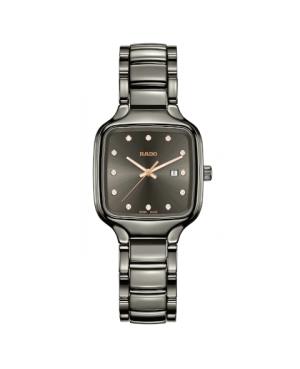 Szwajcarski elegancki zegarek damski RADO True Square Diamonds R27079702 Odporne na zarysowania szkło szafirowe