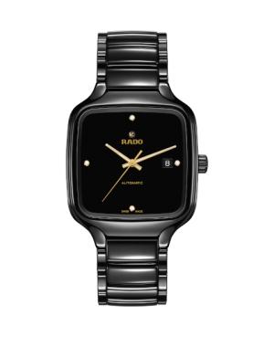 Szwajcarski elegancki zegarek męski RADO True Square Automatic Diamonds R27078722 Odporne na zarysowania szkło szafirowe