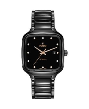 Szwajcarski elegancki zegarek męski RADO True Square Automatic Diamonds R27078702 Odporne na zarysowania szkło szafirowe