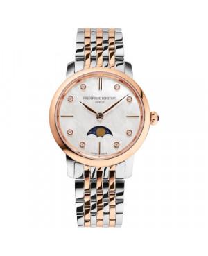 Szwajcarski biżuteryjny zegarek damski FREDERIQUE CONSTANT SLIMLINE MOONPHASE FC-206MPWD1S2B