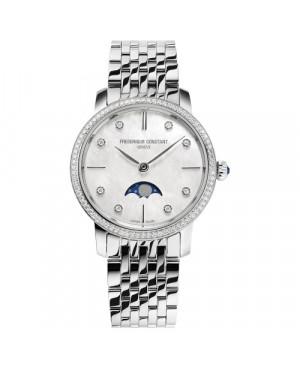 Szwajcarski biżuteryjny zegarek damski FREDERIQUE CONSTANT SLIMLINE MOONPHASE FC-206MPWD1SD6B