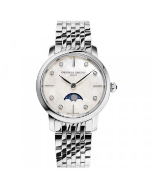 Szwajcarski biżuteryjny zegarek damski FREDERIQUE CONSTANT SLIMLINE MOONPHASE FC-206MPWD1S6B