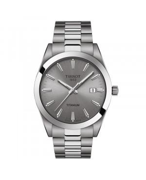 Szwajcarski klasyczny zegarek męski TISSOT Gentleman Titanium T127.410.44.081.00 (T1274104408100)