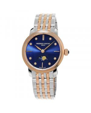 Szwajcarski elegancki zegarek damski FREDERIQUE CONSTANT SLIMLINE LADIES MOONPHASE FC-206ND1S2B (FC206ND1S2B)