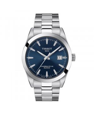 Szwajcarski klasyczny zegarek męski TISSOT Gentleman Powermatic 80 Silicium T127.407.11.041.00 (T1274071104100)