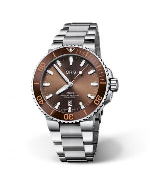 Szwajcarski zegarek męski do nurkowania ORIS AQUIS DATE 01 733 7730 4152-07 8 24 05PEB (01733773041520782405PEB)