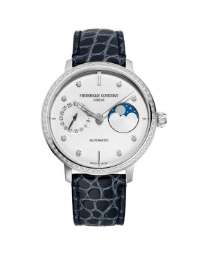 Szwajcarski zegarek damski FREDERIQUE CONSTANT Slimline Moonphase Manufacture FC-702SD3SD6