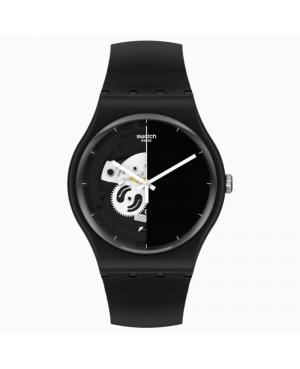 Szwajcarski modowy zegarek unisex SWATCH BIOCERAMIC LIVE TIME BLACK SO32B107