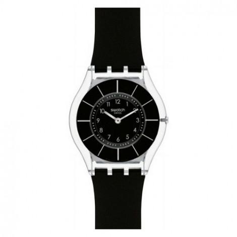 Szwajcarski, modowy zegarek damski SWATCH Skiny Classic SFK361 BLACK CLASSINESS