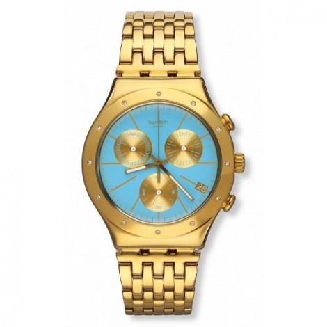 Szwajcarski, modowy zegarek damski SWATCH Irony Chrono YCG413G TURCHESA