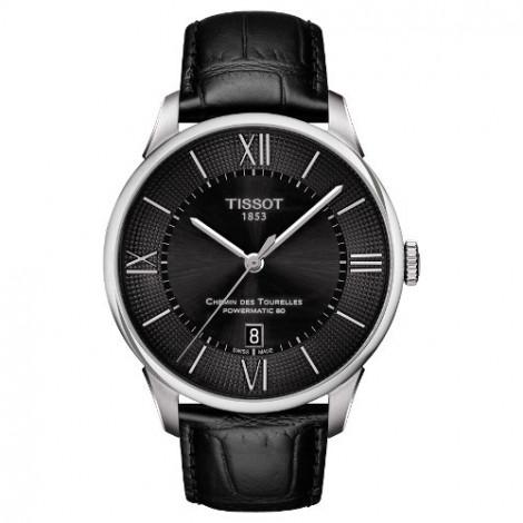 Szwajcarski, elegancki zegarek męski Tissot T-Classic CHEMIN DES TOURELLES POWERMATIC 80 T099.407.16.058.00 (T0994071605800)