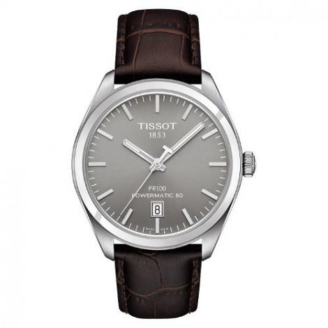 Szwajcarski, klasyczny zegarek męski Tissot PR100 Powermatic 80 T101.407.16.071.00 (T1014071607100) na brązowym pasku