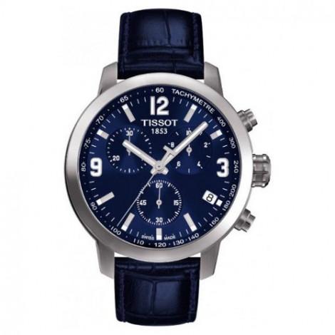 Szwajcarski, sportowy zegarek męski Tissot PRC 200 Chronograph T055.417.16.047.00 (T0554171604700) na skórzanym pasku