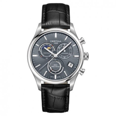 Szwajcarski, sportowo elegancki zegarek męski Certina DS-8 Chronograph Moon Phase C033.450.16.351.00 (C0334501635100)