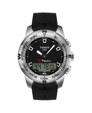 Szwajcarski, sportowy zegarek męski TISSOT T-TOUCH II T047.420.17.051.00 (T0474201705100) na czarnym kauczukowym pasku