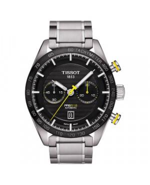 Szwajcarski, sportowy zegarek  męski TISSOT PRS 516 AUTOMATIC CHRONOGRAPH T100.427.11.051.00 (T1004271105100) na bransolecie