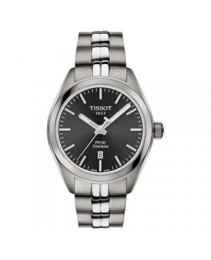Szwajcarski, klasyczny zegarek damski TISSOT PR 100 Lady Titanium T101.210.44.061.00 (T1012104406100) na bransolecie