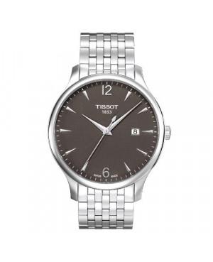 Szwajcarski, klasyczny zegarek męski TISSOT Tradition Gent T063.610.11.067.00 (T0636101106700) na bransolecie