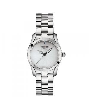 Szwajcarski, elegancki zegarek damski TISSOT T-WAVE T112.210.11.031.00 (T1122101103100) na bransolecie