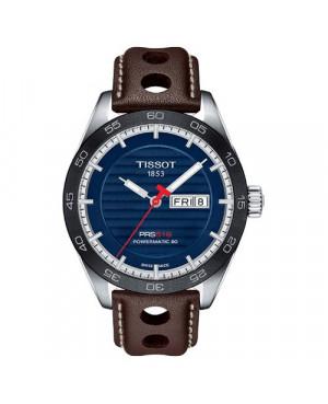 Szwajcarski, sportowy zegarek męski TISSOT PRS 516 POWERMATIC 80 T100.430.16.041.00 (T1004301604100) z niebieska tarczą