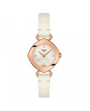Szwajcarski, elegancki zegarek damski TISSOT FEMINI-T T113.109.36.116.00 (T1131093611600) na pasku z diamentami