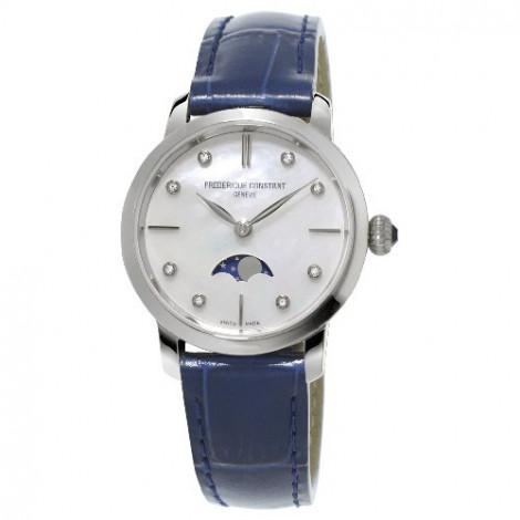 Szwajcarski, klasyczny zegarek damski FREDERIQUE CONSTANT Slimline Ladies Moonphase FC-206MPWD1S6 (FC206MPWD1S6)